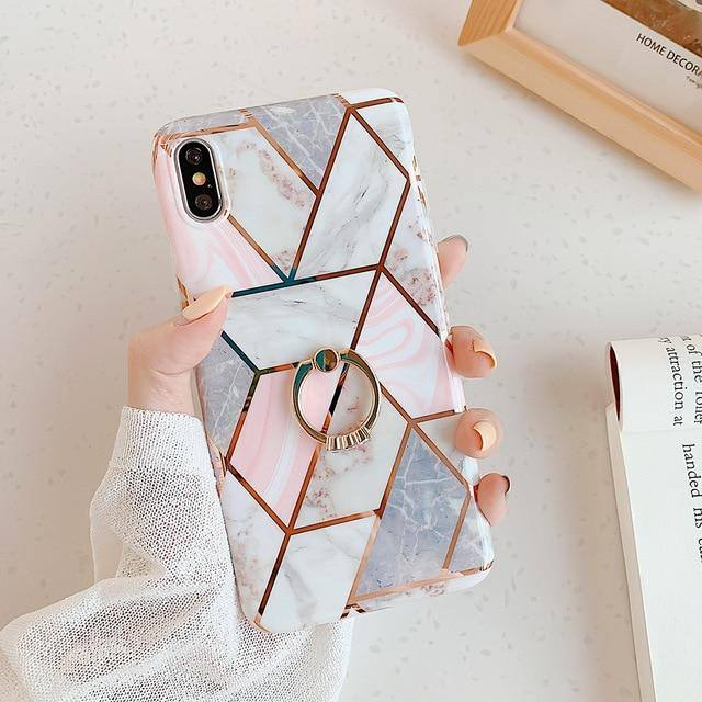 Soft Geometric Marble Texture Phone Case For iPhone XR XS Max 6 6S 7 8 Plus Xcases - Kalsord