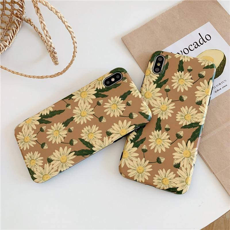 Daisy Flower Retro Phone Case For iPhone XR XS Max 6 6S 7 8 Plus Xcases - Kalsord