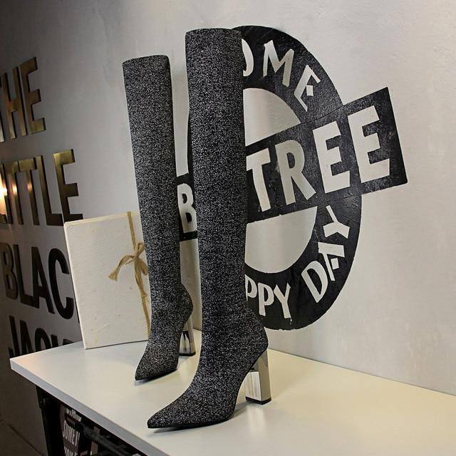 Woman's Over-the-Knee Square Platform Metal High Heeled Pointy Thin Wool Boots - Kalsord