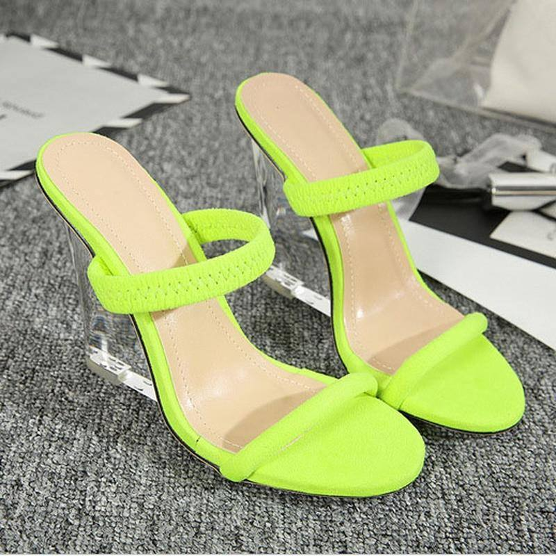 Fluorescent Crystal Clear Wedge High-heeled Sandals | Shoes - Kalsord