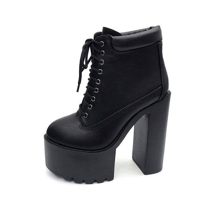 Women's Classic High-Heeled Ankle Boots w/ High Platform - Kalsord
