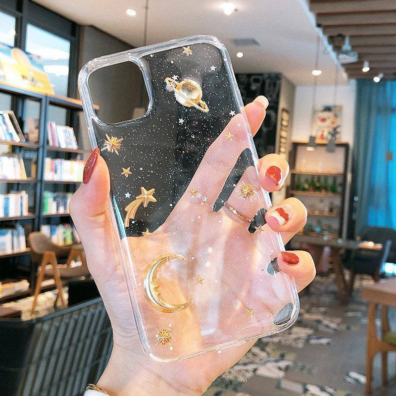 3D Cartoonish Glittering Golden Moon Stars Galaxy Phone Case For iPhone 7 8 6 6s Plus 11 Pro X XR XS Max