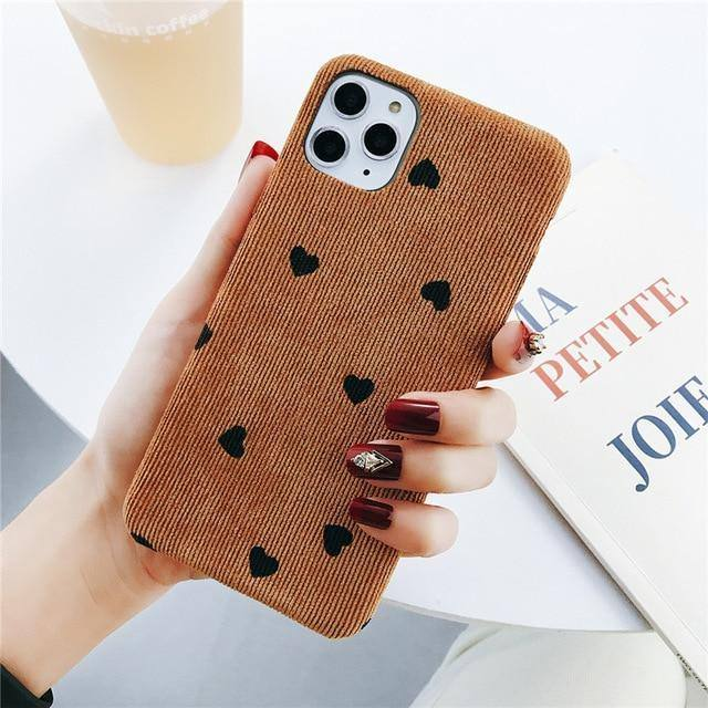 Corduroy Cloth Texture Love Heart Wave Point Phone Case/Cover For iPhone