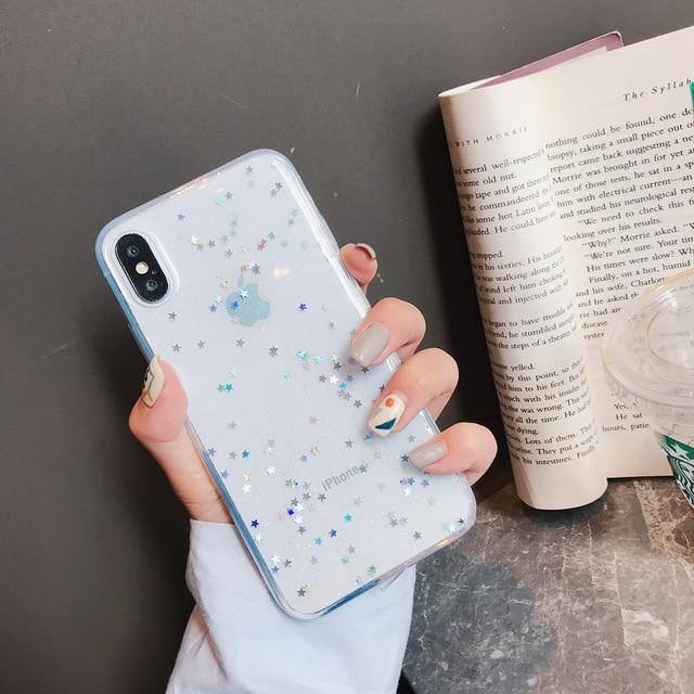 Clear Colorful Star Bling Glitter Phone Case For iPhone X XS Max XR X 6 6S 7 8 Pluscases - Kalsord