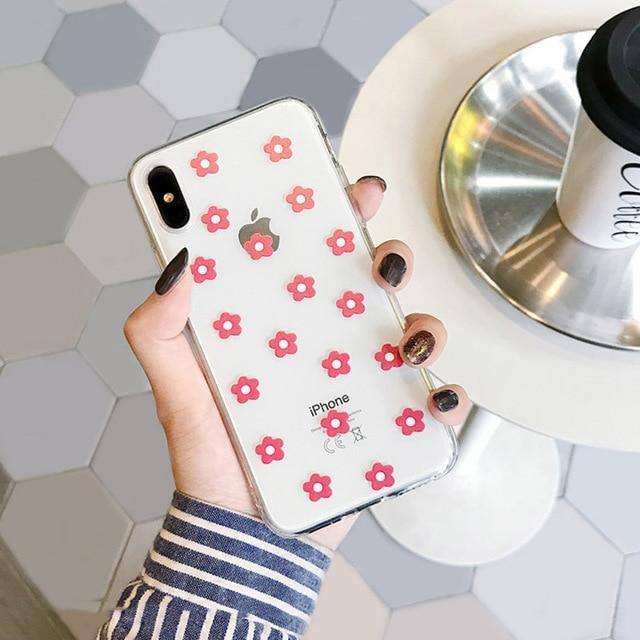 Soft Clear Silicone Floral | Heart Phone Case For iPhone X XS Max XR 6 6S 7 8 Pluscases - Kalsord