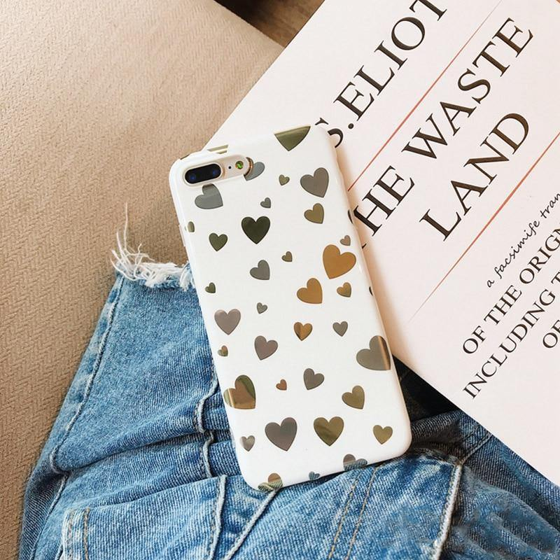 Lovely Mirror Hearts Phone Case For iPhone X 6 6s 7 8 plusCases - Kalsord