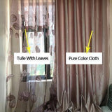 Brownish Luxury Modern Leaf Designer Window Tulle | Curtain For Living Room Bedroom Kitchen