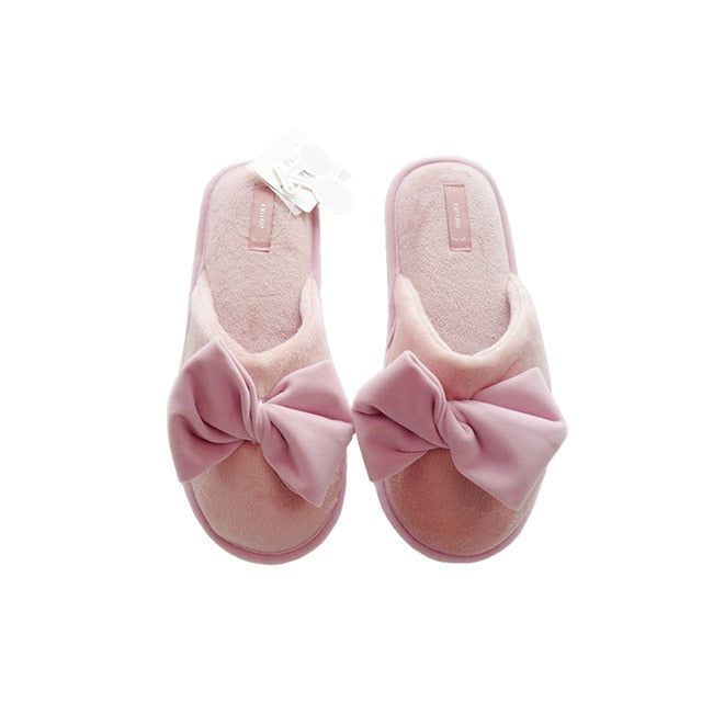 Women's Velvet Bow Warm Winter SlipperSlippers - Kalsord