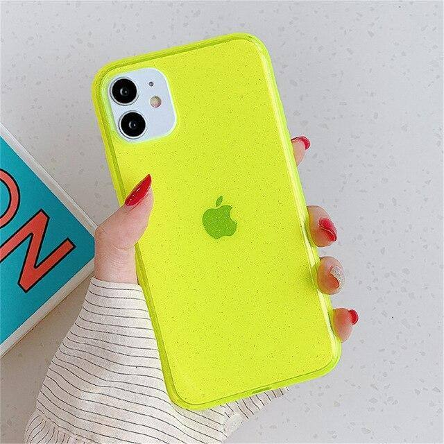 Neon Fluorescent Shining Phone Case For iPhone 11 Pro Max X XR X Max Soft TPU Solid Color Clear Back Cover For iPhone 7 8 Plus