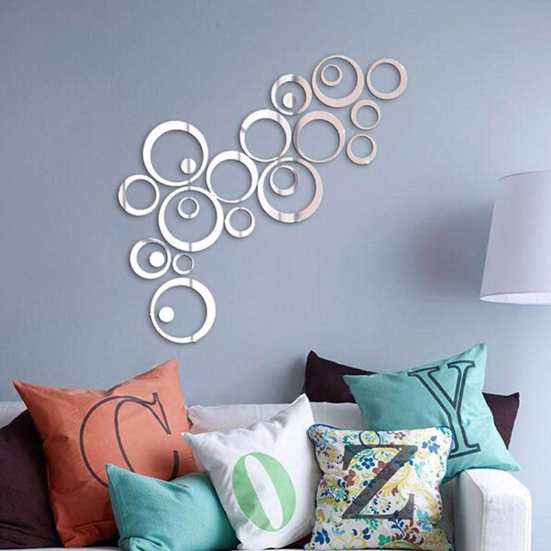 24pcs/set 3D DIY Acrylic/Mirror Wall Stickers | Decoration Circles  for Background Home Decor | Wall Art - Kalsord