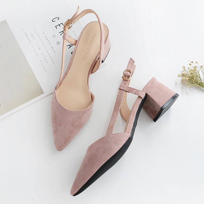 Casual Pointed Toe Slingback Square Women's Sandals Pumps/Heels- Black Pink Nude - Kalsord