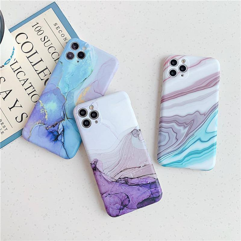 Soft Matte Abstract Watercolor Marble Texture Blend Phone Case For iPhone 11 11Pro Max X XR XS Max 7 8 Plus