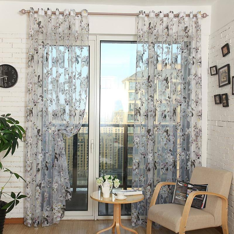 Elegant Ready-Made Custom Flower Floral Voile | Sheer | Tulle Curtains for Living Room Bedroom Kitchen Door Window Home Decor - Kalsord