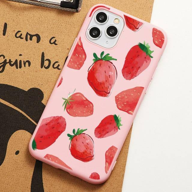 #2 Summer Fruit Soft Case For iPhone Pink Strawberry Cherry Lemon Pineapple