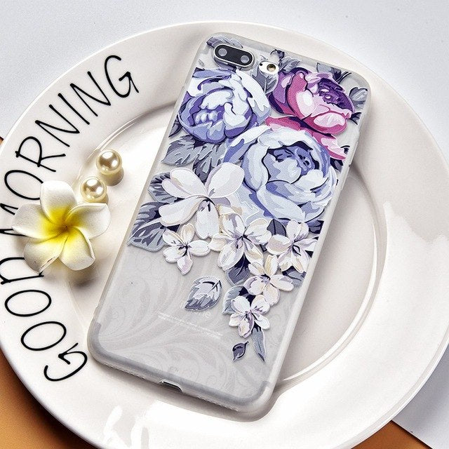 Cute Floral Patterned Case For iPhone X 7 8 6 Pluscases - Kalsord
