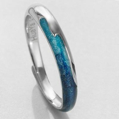 Bright Blue Shining River Emerald Ring s925 SilverRings - Kalsord