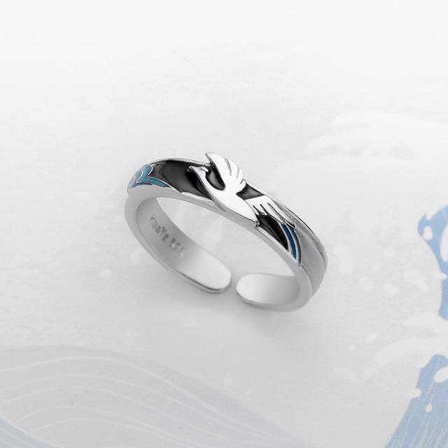 3D Flying Bird | Wave s925 Silver Blue Drop Oil RingRings - Kalsord