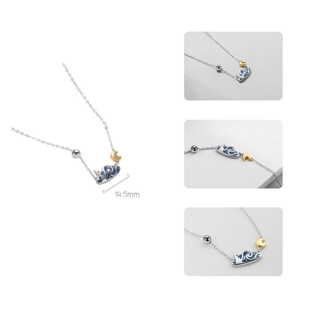 Silver Glitter Sky Gold Moon Star NecklaceNecklace - Kalsord