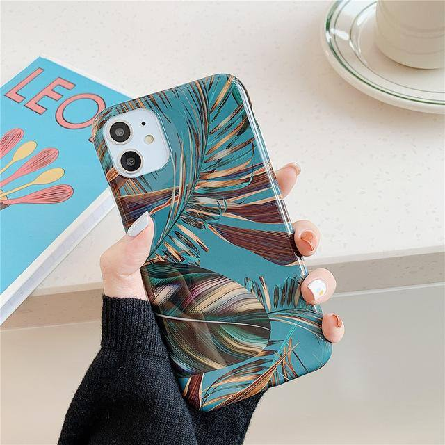 Leaves Glossy Phone Case For iPhone 11 Pro Max X XR Xs Max Soft TPU Silicone Cases Cover For iPhone 6 6s 7 8 Pluscases - Kalsord