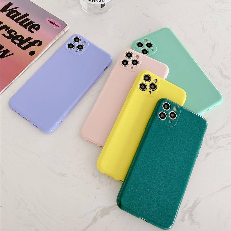 Soft TPU Glossy Glitter Phone Back Cover For iPhone- Purple, Green, Pink, Yellow