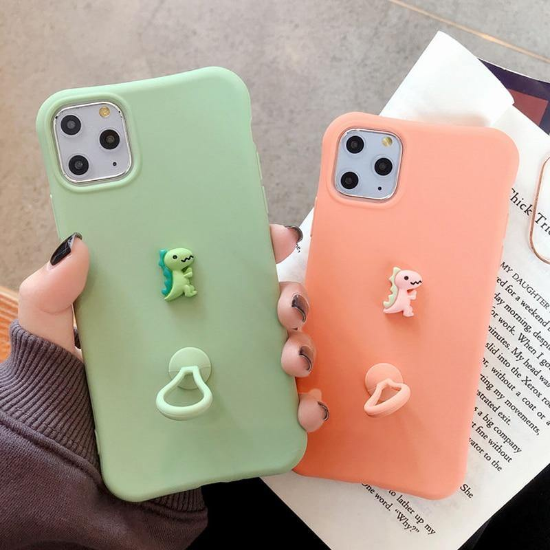 Soft Cartoon 3D Dinosaur With Finger Ring Phone Case/Cover For iPhone 11 Pro Max X XR Xs Max 7 8 Pluscases - Kalsord