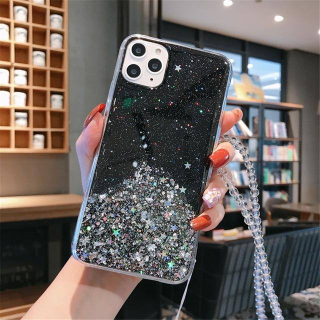 Chain Necklace Lanyard Phone Case For iPhone 11 Pro Max X XS XR Xs Max 6 6S 7 8 Plus Glitter Bling Clear Soft TPU Covercases - Kalsord