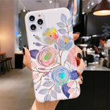 Colorful Laser Flower Leaves Phone Case For iPhone 11 Pro Max X XR Xs Max 6 6s 7 8 Pluscases - Kalsord