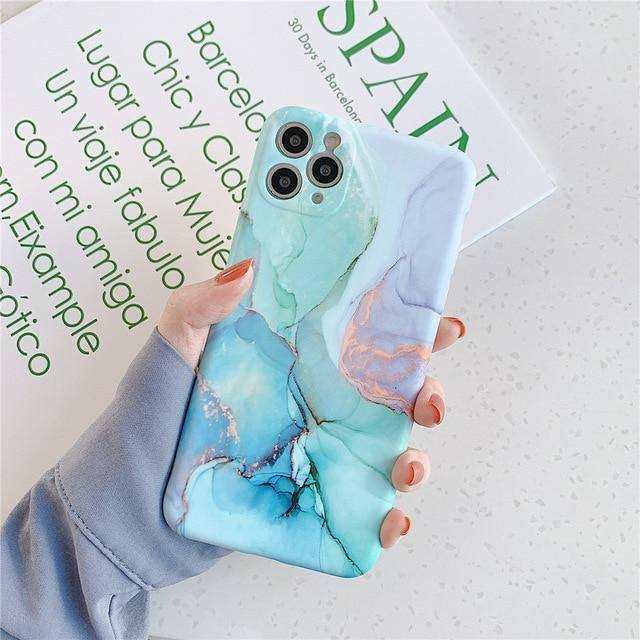 USLION Colorful Marble Cases Cover For iPhone 11 Pro Max X XS XR Xs Max Soft TPU Silicone Fashion Back Cover For iPhone 7 8 Plus