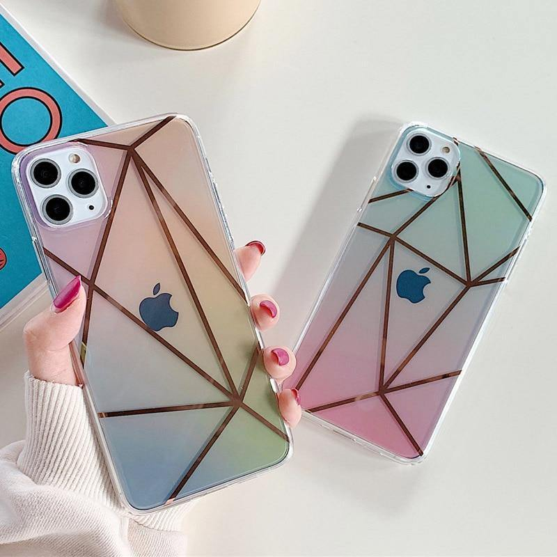 Geometric Electroplate Clear Gradient Phone Case/Cover For iPhone 11 Pro Max X XS XR Xs Max 7 8 Pluscases - Kalsord
