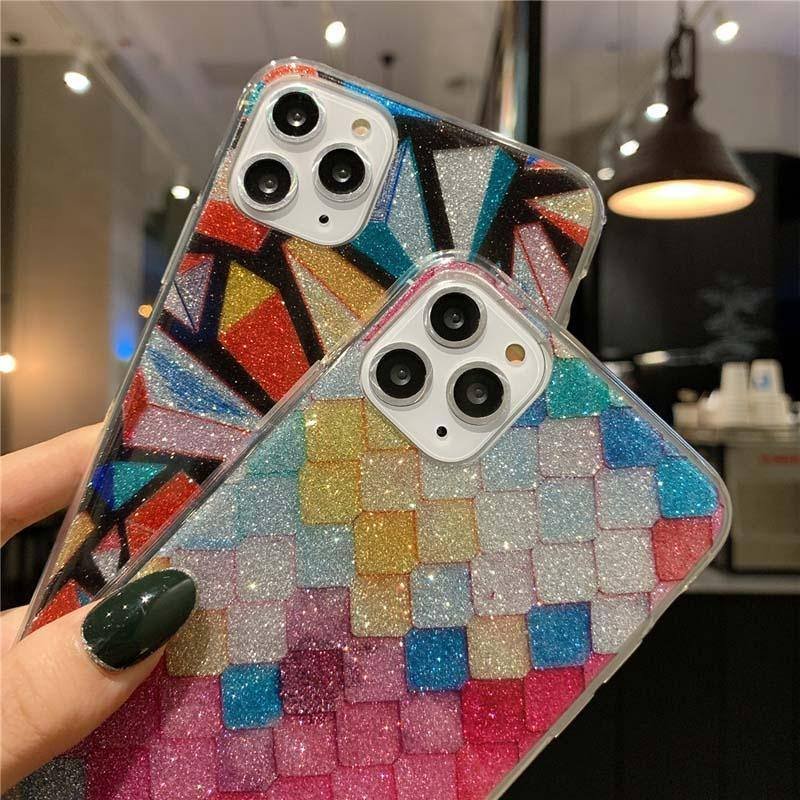 Geometric Glitter Bling Star Shape Phone Case For iPhone 11 Pro Max X XS XR Xs Max 6 6s 7 8 Pluscases - Kalsord