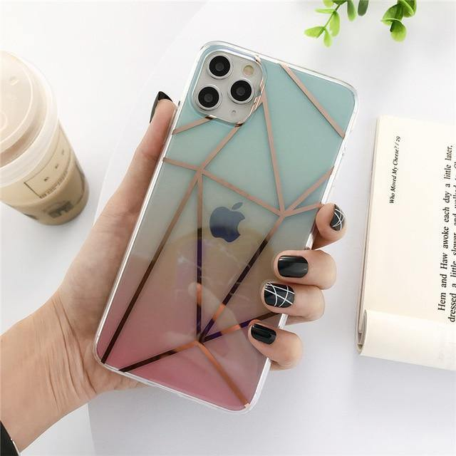 Geometric Clear/Transparent Gradient Phone Case/Cover For iPhone 11 Pro Max X XS XR Xs Max 7 8 Pluscases - Kalsord