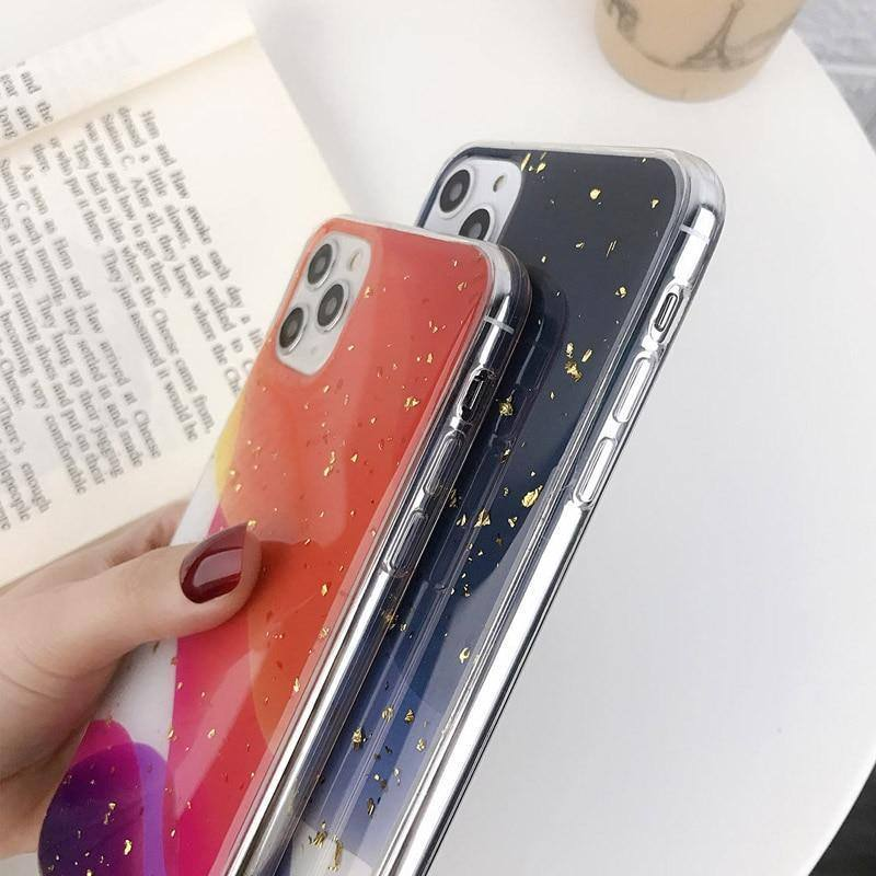 Abstract Colorful Gradient Glitter/Golden Foil Phone Case/Cover For iPhone 11 Pro Max X XS XR Xs Max 6 6s 7 8 Pluscases - Kalsord