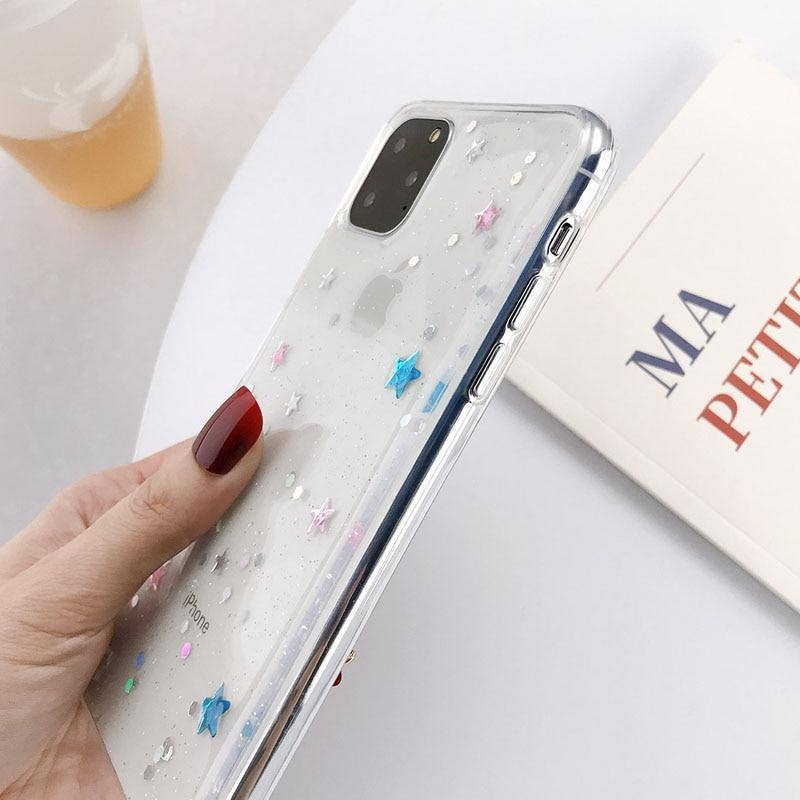 Soft Clear TPU Glitter Bling Stars Phone Case For iPhone X XS XR Xs Max 11 Pro Max S 6 6s 7 8 Pluscases - Kalsord