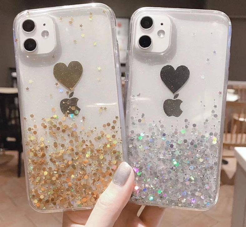 Clear Golden Foil | Glitter Love Heart Phone Case/Cover For iPhone 11 Pro Max X XR Xs Max 6 6s 7 8 PlusCases - Kalsord
