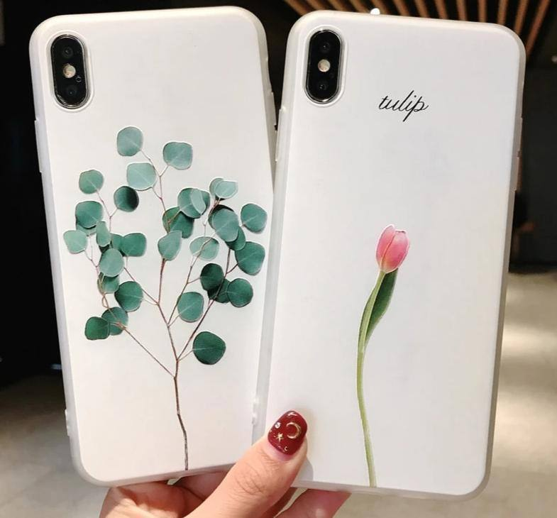 White Leaves on Navy - a hand painted pattern iphone 11 case