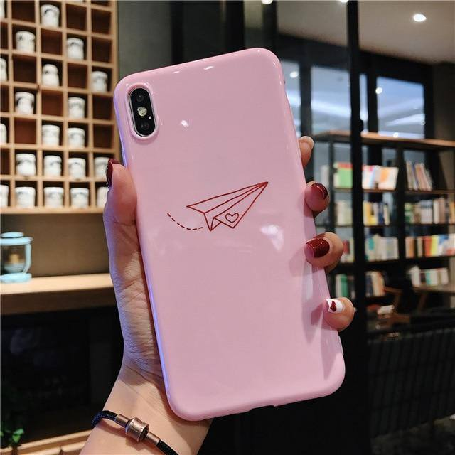 Cartoon Paper Plane Phone Case For iPhone XS Max XR X 6 6s 7 8 Pluscases - Kalsord