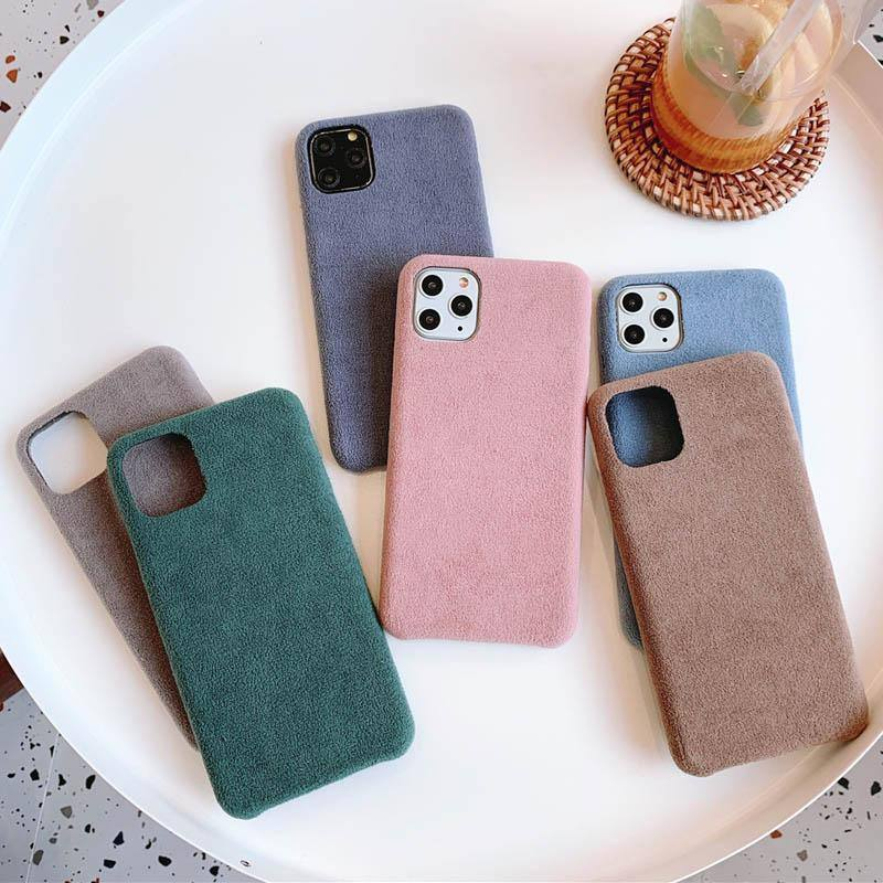 Plush Solid Color Phone Case For iPhone 11 Pro Max X XR Xs Max Furry Cloth Soft PU Back Cover For iPhone 6 6s 7 8 Pluscases - Kalsord