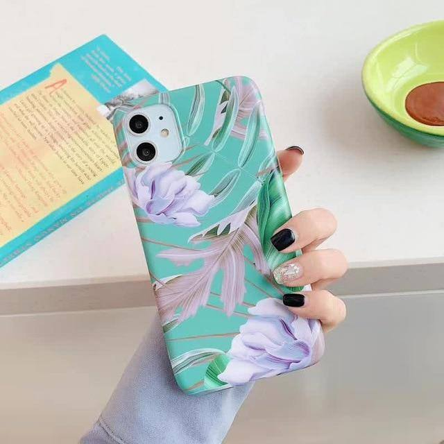 Retro Floral Leaves Cases Cover For iPhone 11 Pro Max X XS XR Xs Max Soft IMD Silicone Cover For iPhone 6 6S 7 8 Pluscases - Kalsord