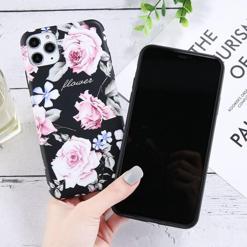 Silicone Flower Leaves Phone Case For iPhone 11 Pro Max X XS XR Xs Max Soft Cover For iPhone 7 8 Pluscases - Kalsord