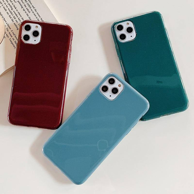 Simple Glossy Solid Color Phone Case For iPhone 11 Pro Max X XS XR Xs Max Glossy Soft TPU Back Cover For iPhone 6 6s 7 8 Pluscases - Kalsord