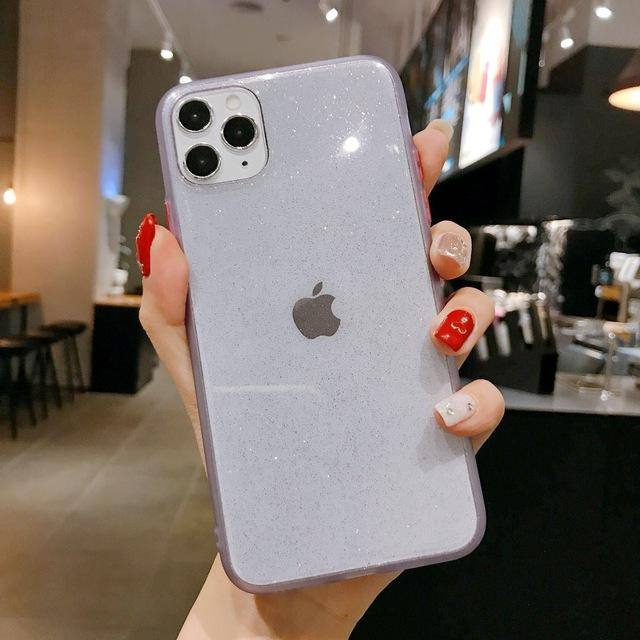Transparent Glittering Phone Case For iPhone X XS XR Xs Max 11 Pro Max 7 8 Plus