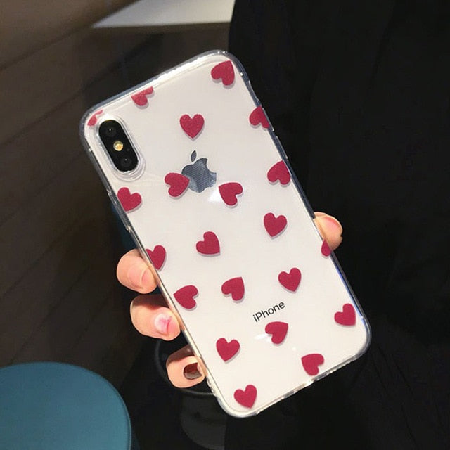 Transparent Hearts Silicon Case For iPhone 6 S 7 8 Plus XS Max XR XCases - Kalsord