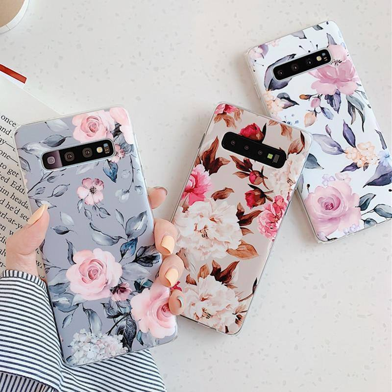 Vintage Flower & Leaf Phone Case For Samsung Galaxy A50 A40 A70 S10e S10 Plus S8 S9 Pluscases - Kalsord