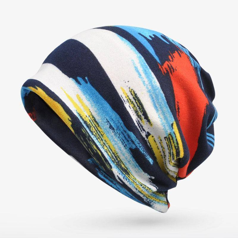 Multi Color Abstract Velvet Knitted Beanie For Men & Women - Kalsord