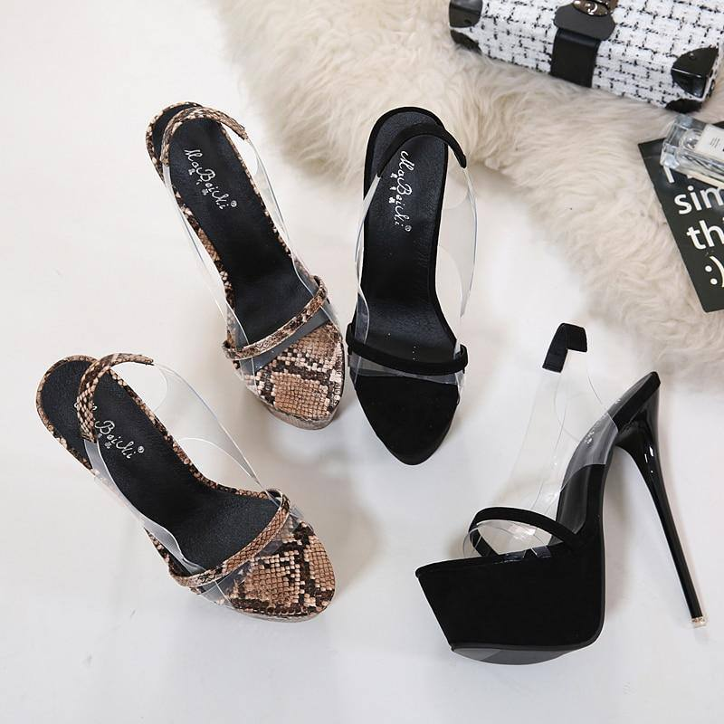 Clear Back strap Sandals 16CM Heels Snake Print Peep Toe Platform High Heel Stilettos | Shoes - Kalsord