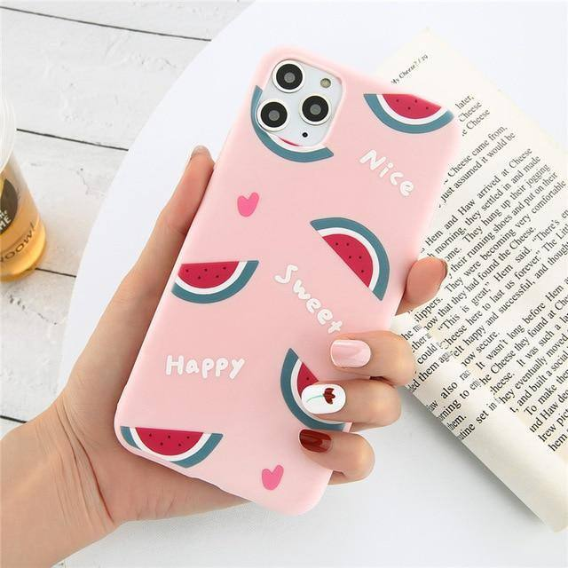 #1 Cartoonish Summer Fruit Cherry Strawberry Watermelon Pineapple Orange Phone Cover/Case For iPhone
