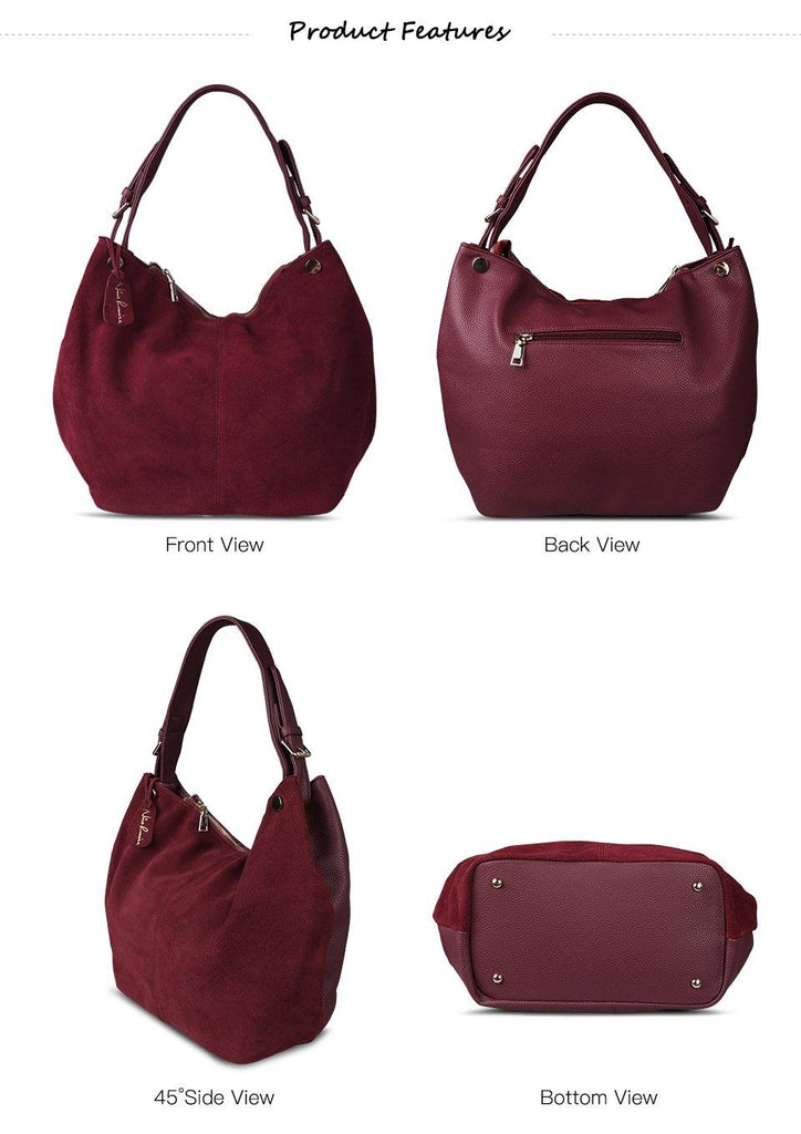 Women's Faux Suede Hobo | Tote | Handbag Shopping Casual Work- 6 Colorsbags - Kalsord