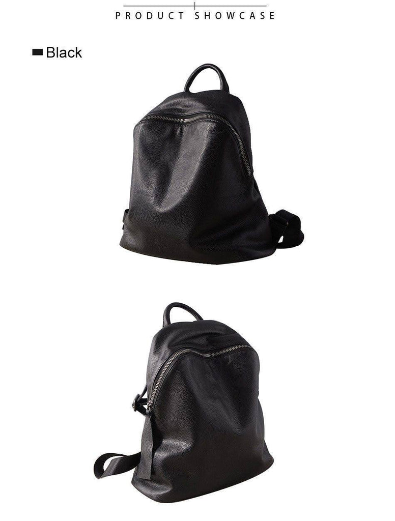 Women's Black Genuine Leather Vintage Backpack For Travel | Schoolbags - Kalsord