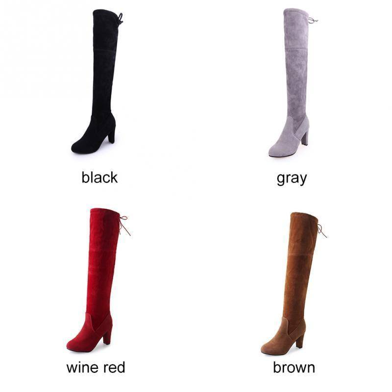 Women's Faux Suede Slim Over-the-knee | Thigh Winter Pointed Heels | Boots- Red, Black, Brown, Grey - Kalsord