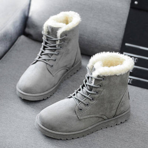 Women's Winter Snow Cotton Plush Boots 2019 | New Cute Warm Lace-Up Mid-Calf Boots For Ladies - Kalsord